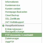 FTP Menü bei Domainfactory