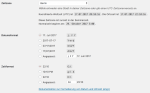 Erste Schritte in WordPress: Zeit, Datum und Zeitzone einstellen