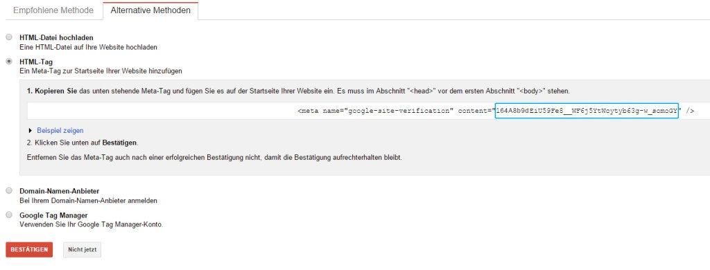 Google Webmaster Tools HTML Tag Bestätigung