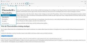 Screenshot wie man im Visuellen Editor von WordPress Überschriften einfügt