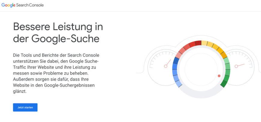 Informiere die Google Search Console über deinen Website