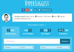 Hypersuggest Keyword Tool Screenshot