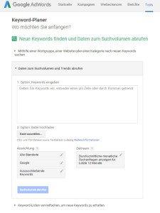 Google Adwords Keyword Daten zum Suchvolumen und Trends abrufen