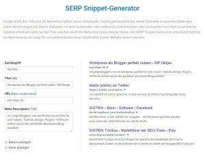 Sistrix Snippet Generator, kostenlose SEO Tools Screenshot
