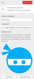Favicon und Touch Icon in den WordPress Einstellungen festlegen