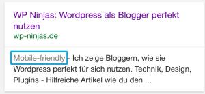 Google Suchtreffer mobile friendly