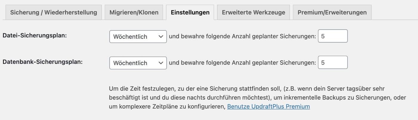 UpdraftPlus Einstellungen Backup Intervall