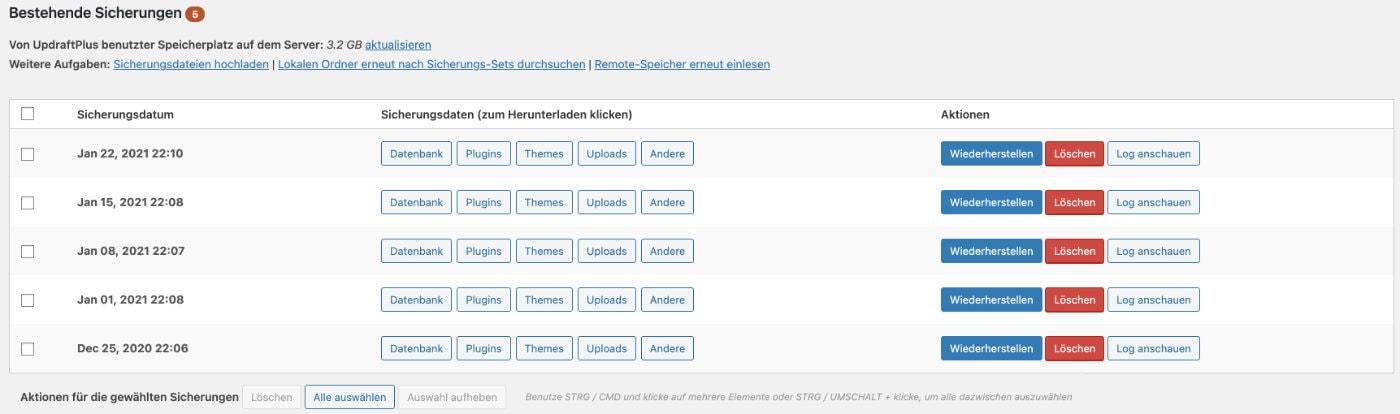 Bestehende WordPress Backups einsehen