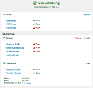 Wordpress updaten, Backup mit Duplicator