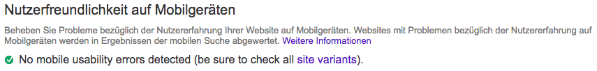 Google Search Console Nutzerfreundlichkeit auf Mobilgeräten Beispiel