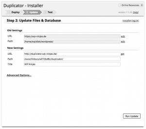 WordPress umziehen - Duplicator Datenbankupdate