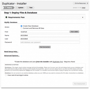 WordPress Umzug - Duplicator Installationsassistent