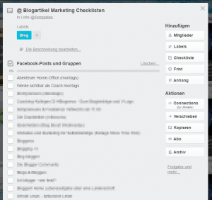 Blogvermarktung Screenshot Trello