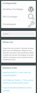 WordPress Sidebar Frontend Beispiel