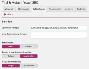 Yoast SEO Anleitung - Title Tag Vorlage erstellen