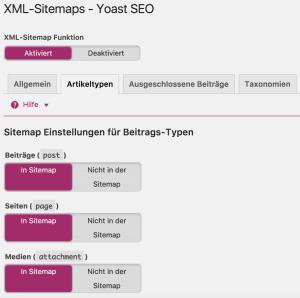 Yoast SEO Anleitung - Sitemap konfigurieren