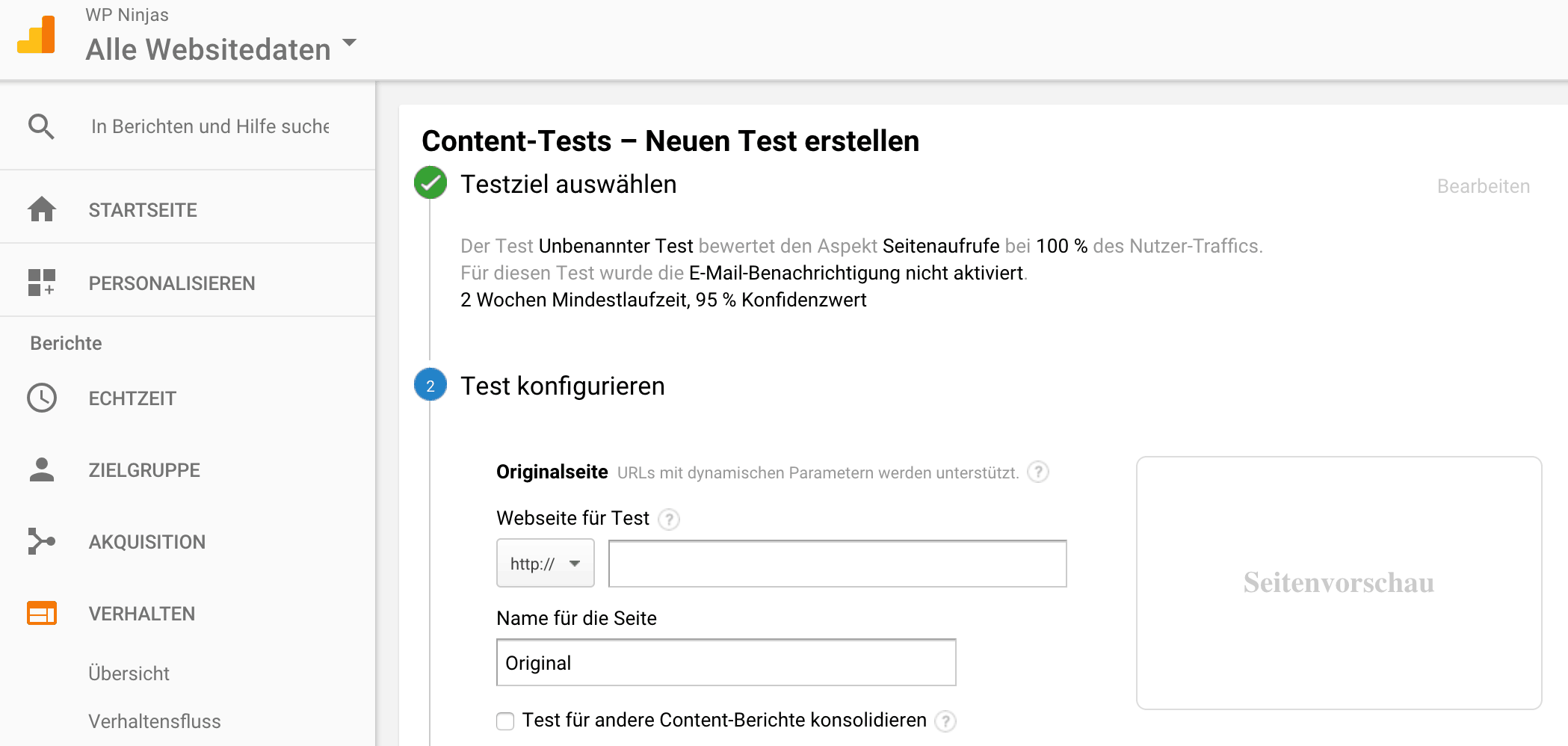 Landingpage Split Tests in Google Analytics
