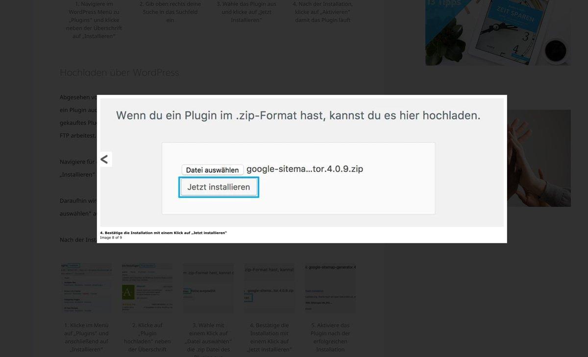 WordPress Ligthbox Beispiel
