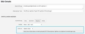 """WordPress Lightbox aktivieren mit """"Link zur"""""""