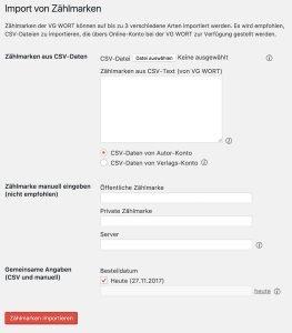 VG Wort Zählmarken in WordPress importieren