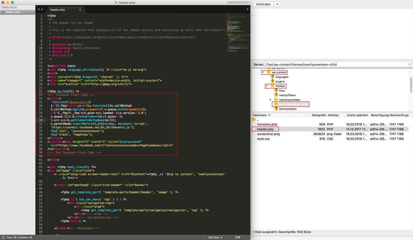 Facebook Pixel Code in header.php einfügen