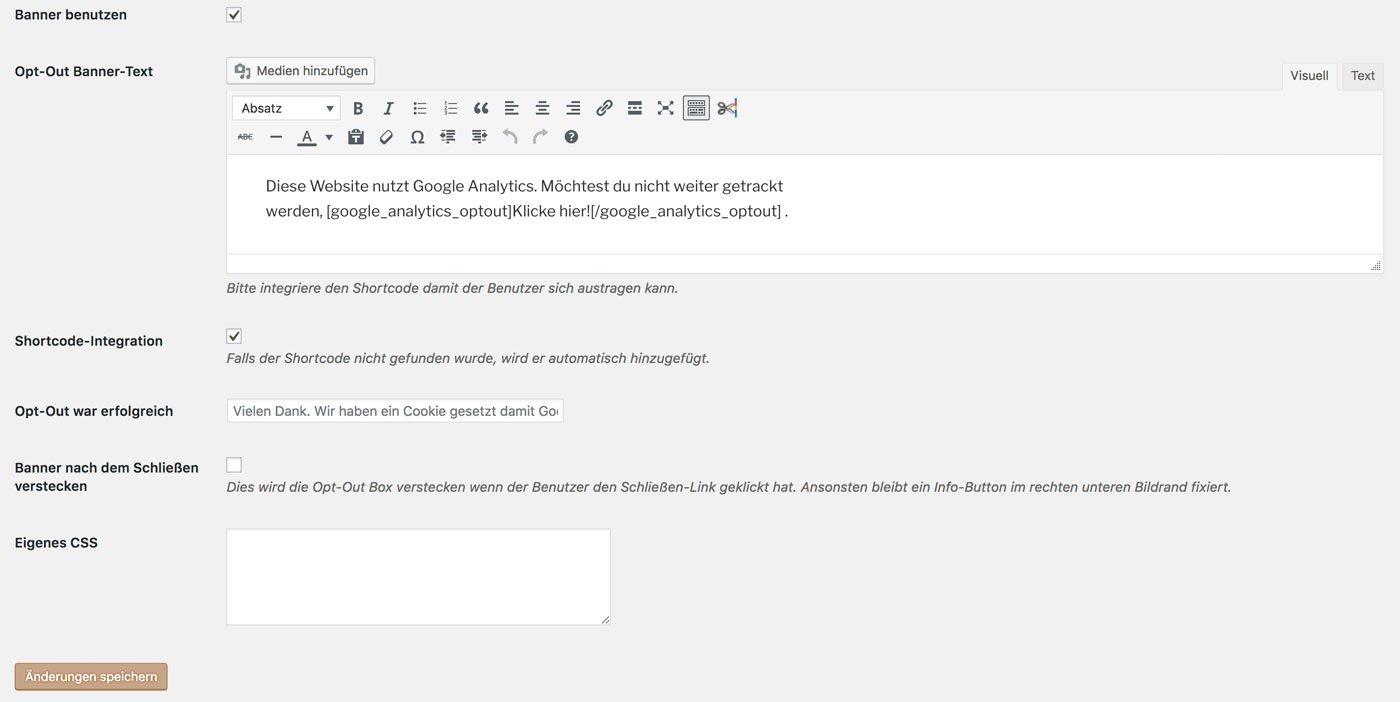 Google Analytics Opt-Out Plugin Einstellungen