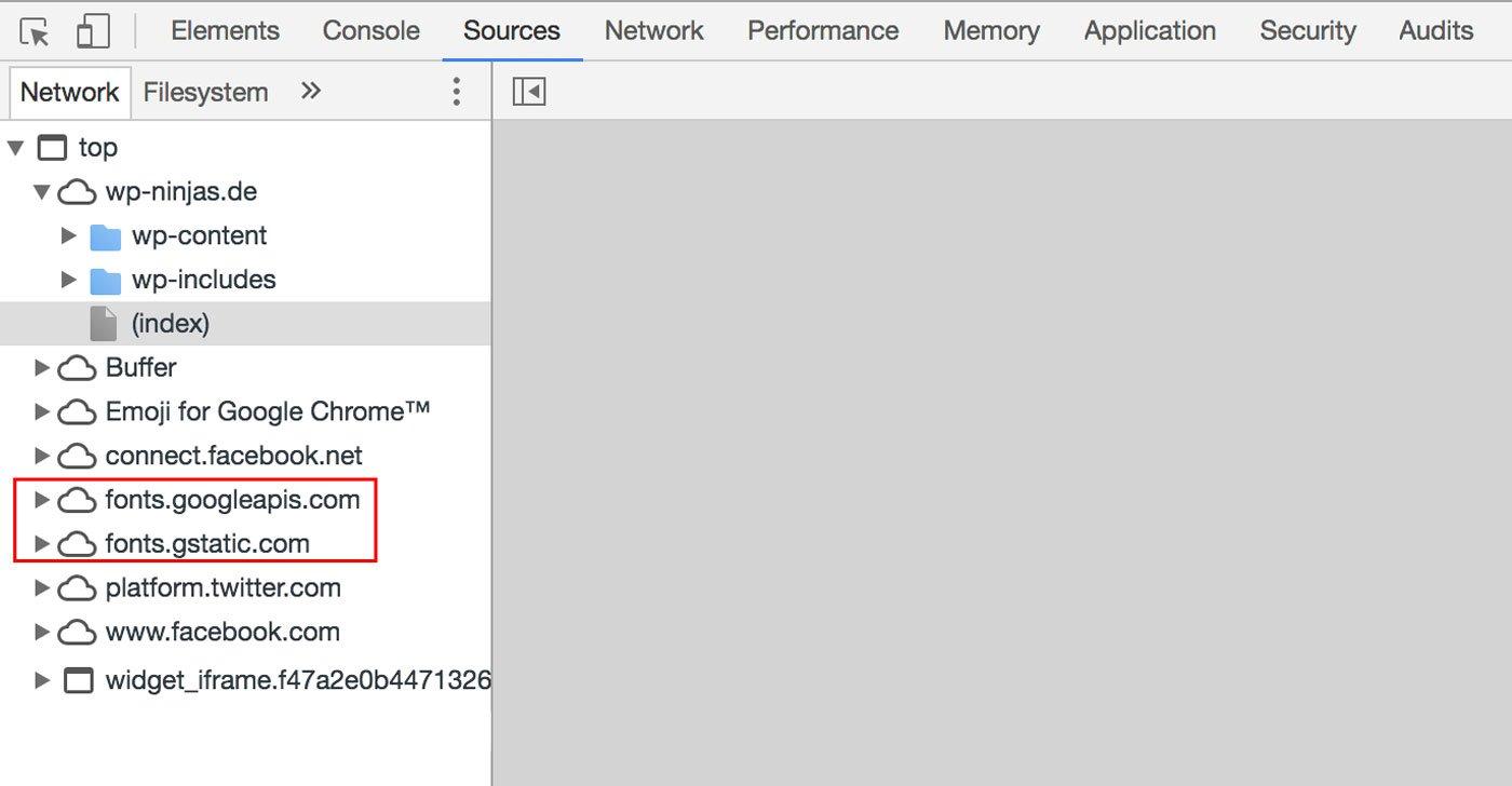 Fonts werden über den Google Server geladen (Console)