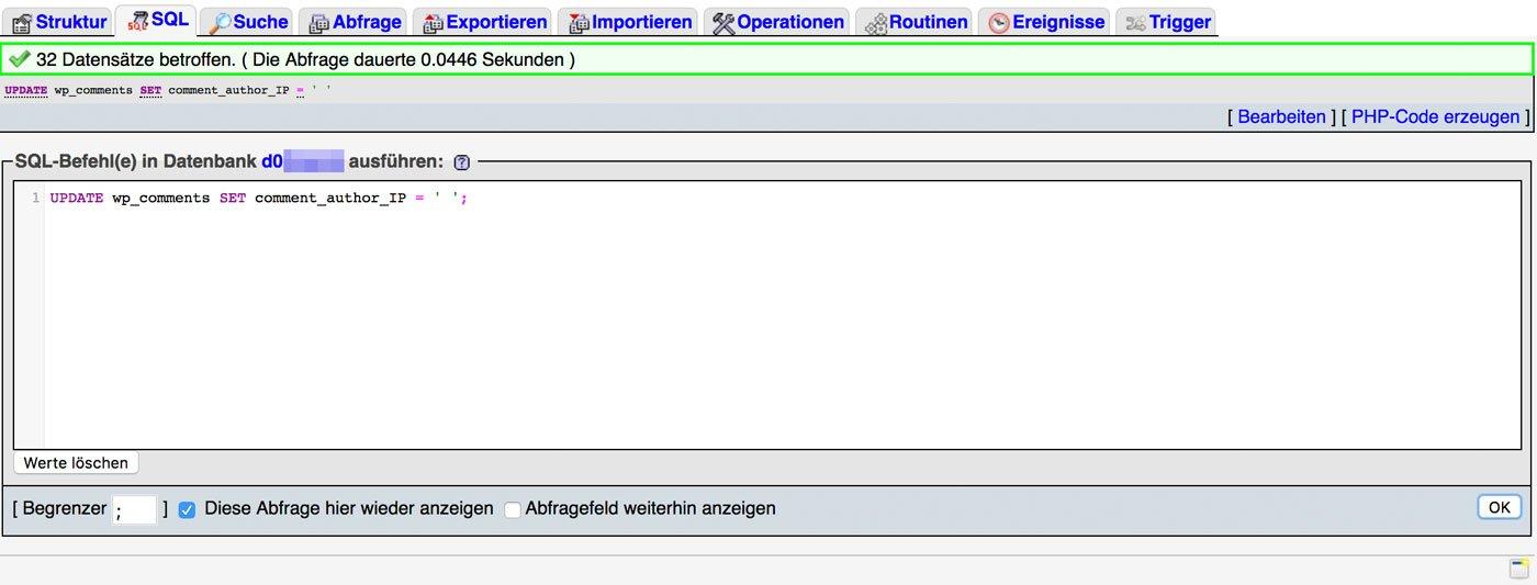 SQL Befehlt zum Löschen der IP Adressen