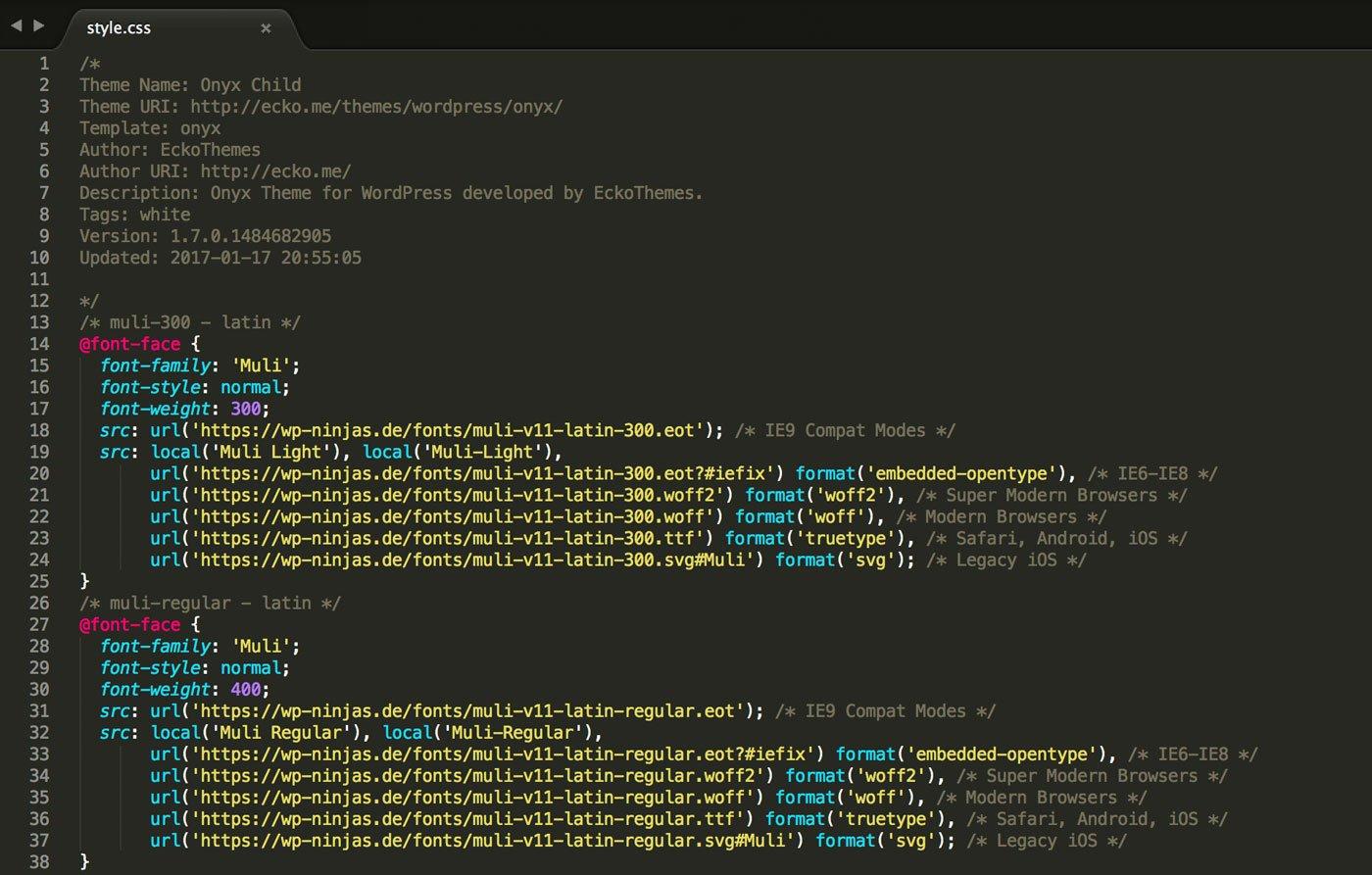 Code in der style.css zum Aufruf der Google Font