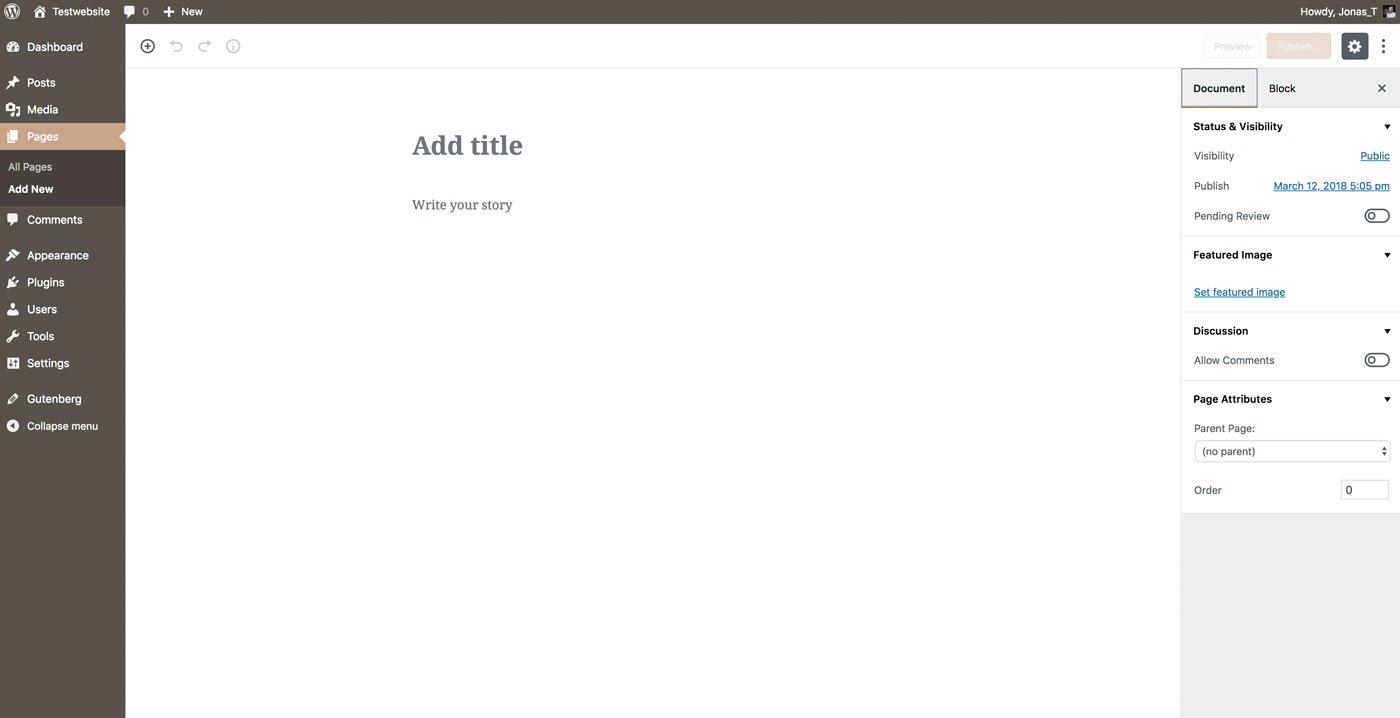 So sieht der WordPress Gutenberg Editor aus