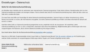 WordPress DSGVO Datenschutzseite