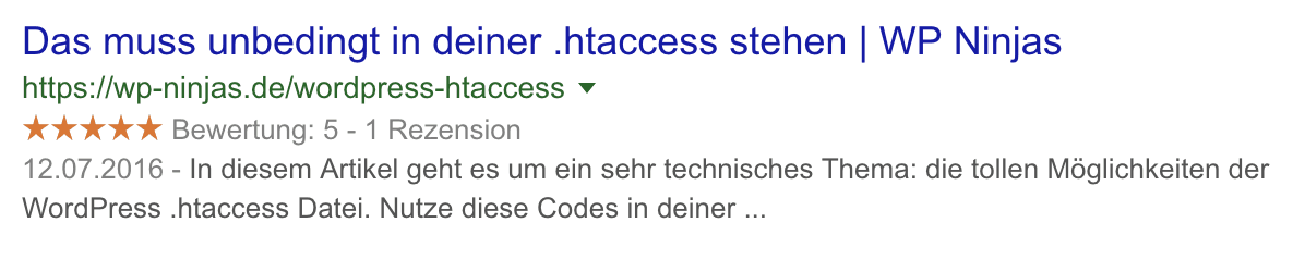 Mikrodaten Bewertung in den SERPs