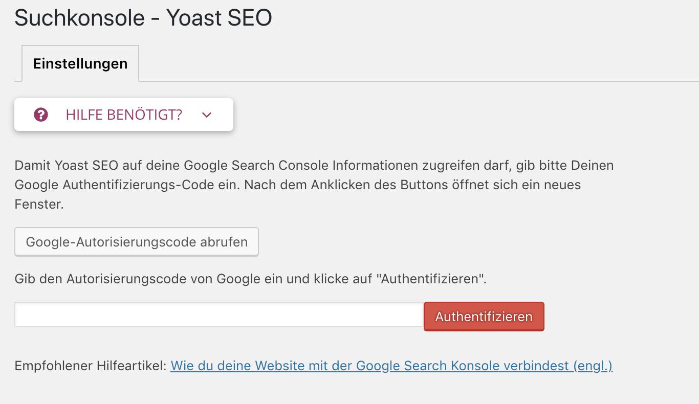 Verbindung zwischen der Google Search Console und WordPress via SEO by Yoast herstellen