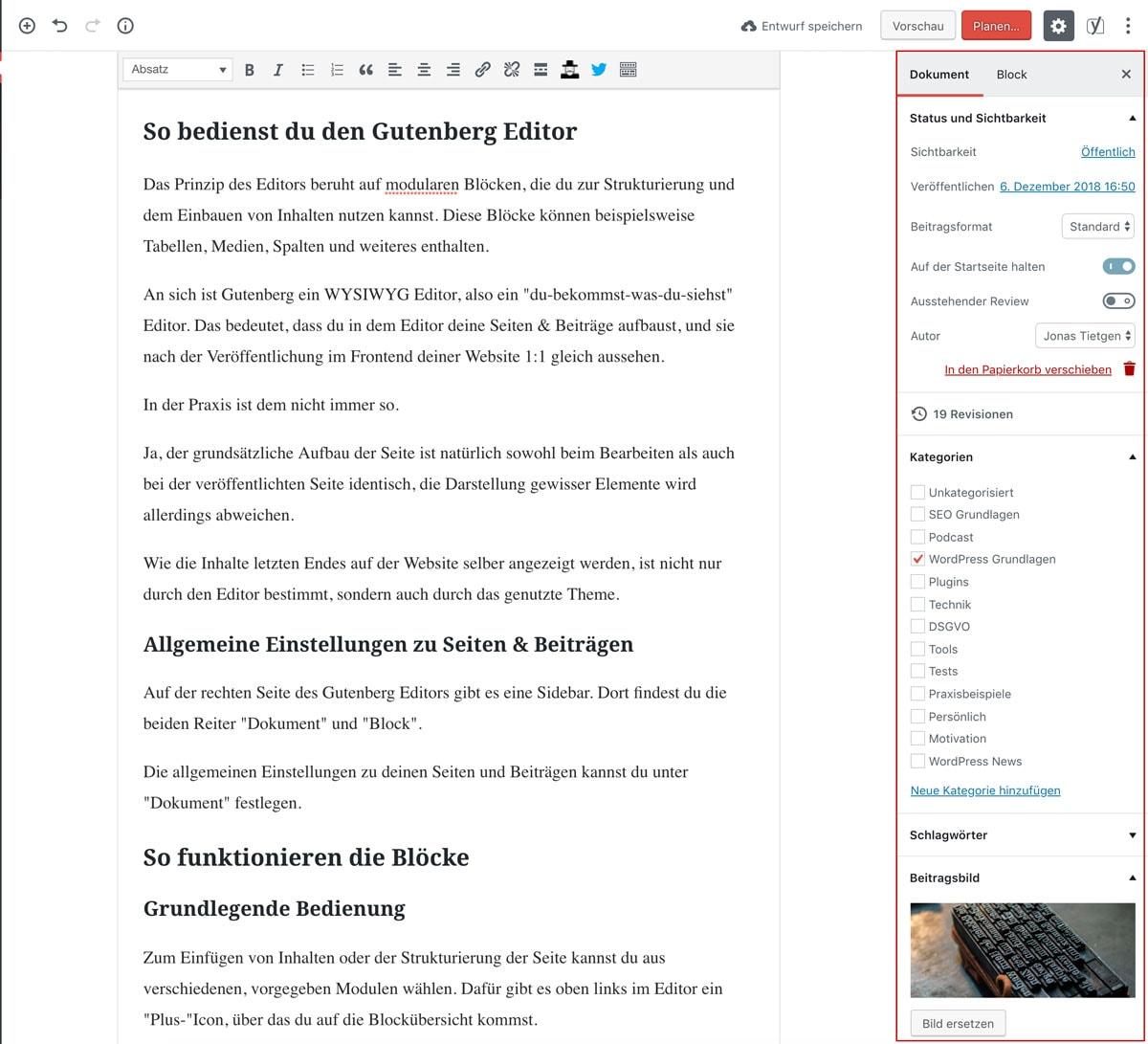 Allgemeine Seiteneinstellungen im Gutenberg Editor