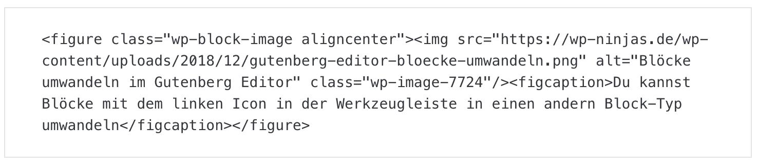 HTML Modus im WordPress Gutenberg Editor