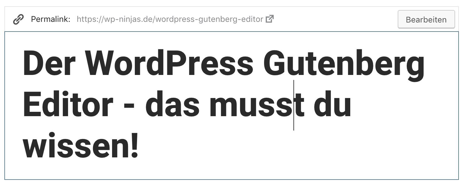 So änderst du den Permalink eines Dokuments im WordPress Gutenberg Editor