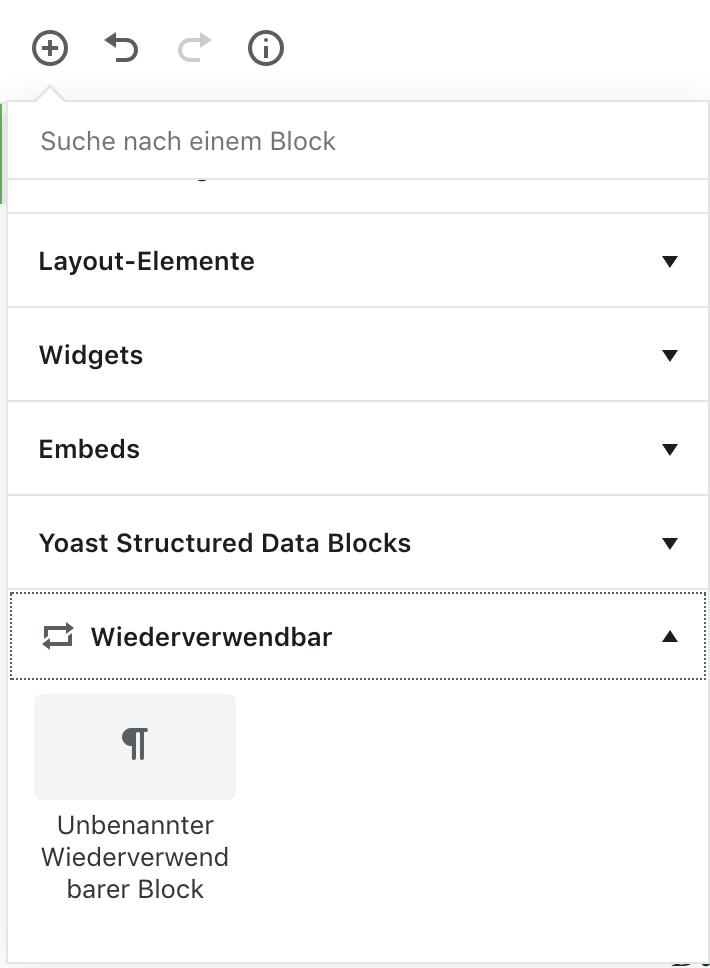 Wiederverwendbare Blöcke im Gutenberg Editor