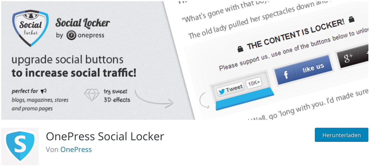wordpress plugins für traffic: social locker