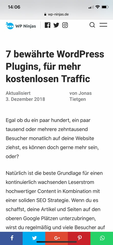 wordpress traffic plugin social pug mobile ansicht