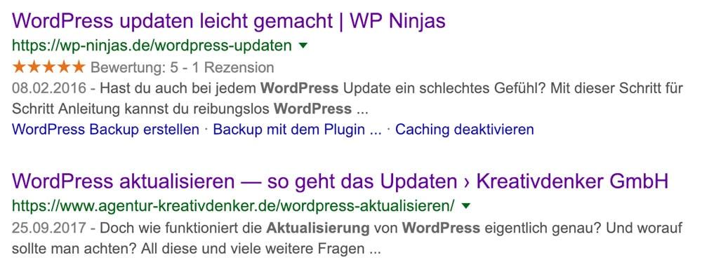 Strukturierte Daten in WordPress. Vergleich Rich Snippet - normales Snippet