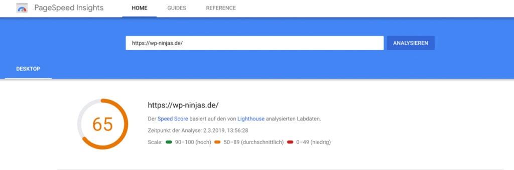 Eine Messung der Website Ladezeit im PageSpeed Insights Tool