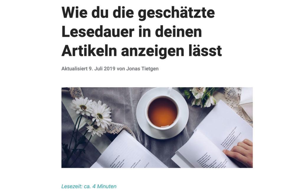 Lesezeit darstellen in Artikeln
