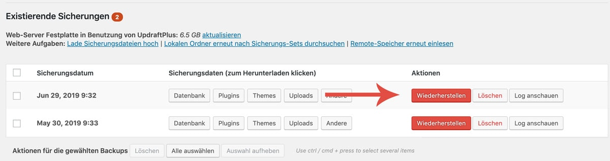 WordPress Backup wiederherstellen mit UpdraftPlus