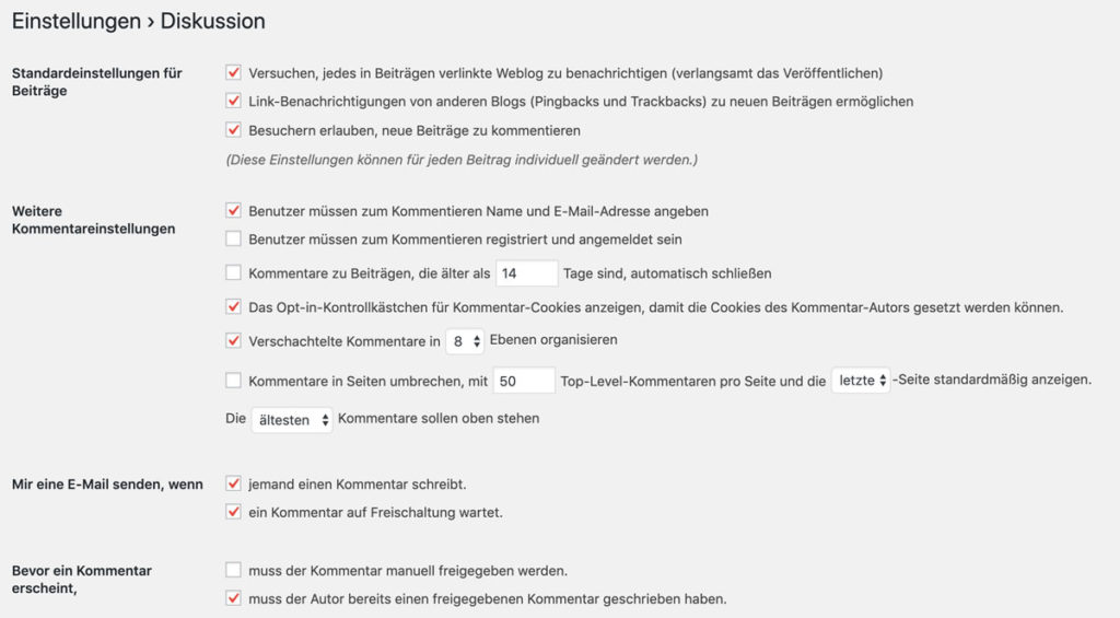 WordPress Kommentareinstellungen