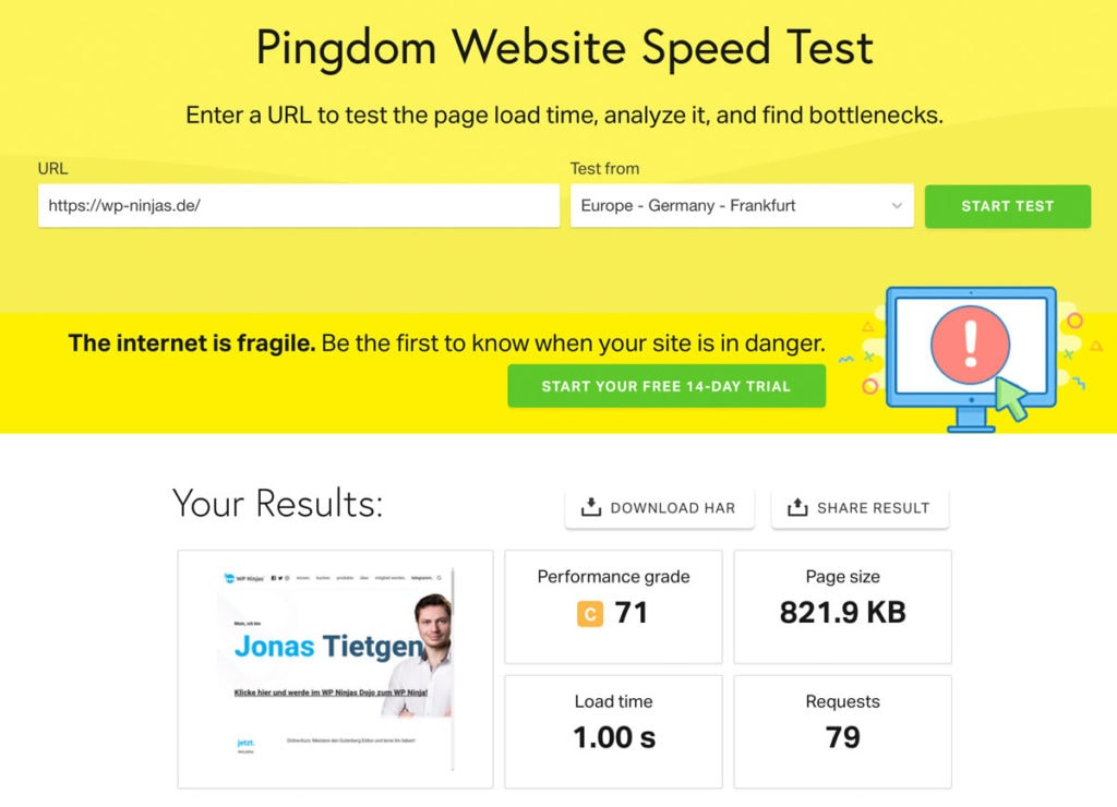 Screenshot wp-ninjas.de im Speedtest bei Pingdom