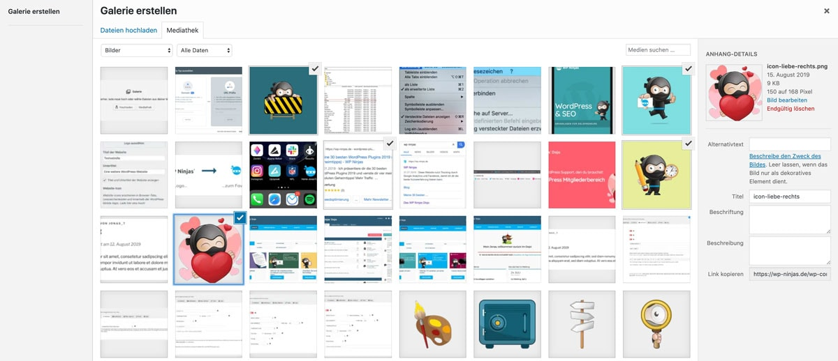 WordPress Bildergalerie BIlder auswählen
