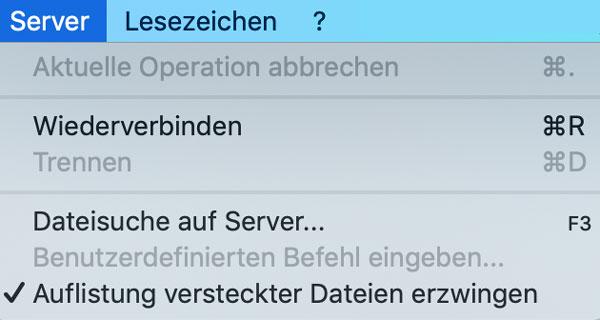Versteckte Dateien in Filezilla anzeigen lassen.