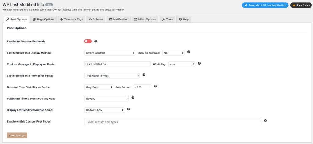 WP Last Modified Info Post Options