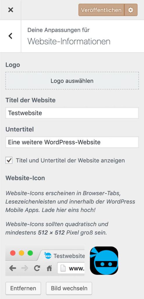 WordPress Favicon im Customizer einfügen
