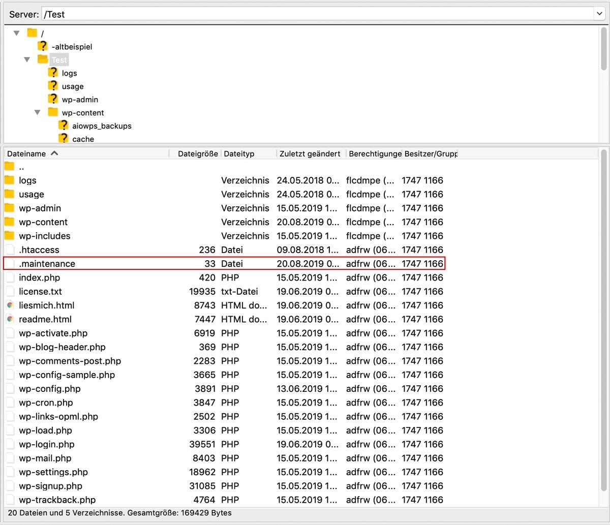 Die .maintenance Datei des WordPress Wartungsmodus